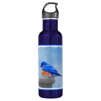 Bluebird Painting - Original Bird Art 710 Ml Water Bottle