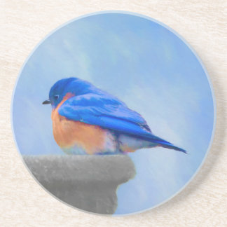 Bluebird Painting - Original Bird Art Coaster