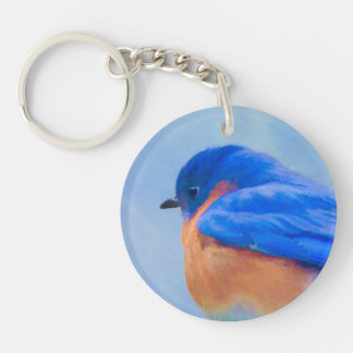 Bluebird Painting - Original Bird Art Keychain