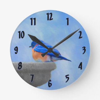 Bluebird Painting - Original Bird Art Round Clock