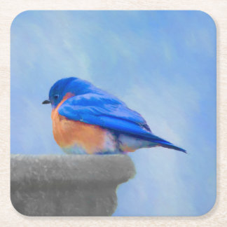 Bluebird Painting - Original Bird Art Square Paper Coaster
