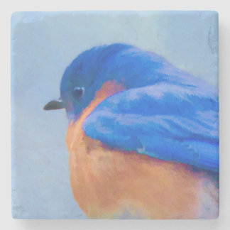 Bluebird Painting - Original Bird Art Stone Coaster