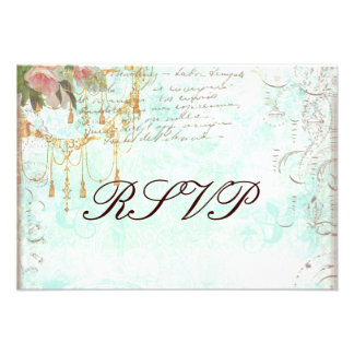 Bluebird & Pink Roses RSVP Cards Invite