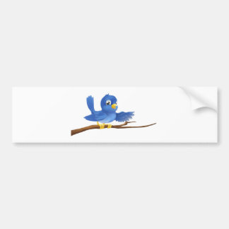 Bluebird sitting on  branch pointing bumper sticker