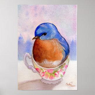 Bluebird Teacup Watercolor Poster