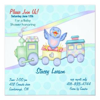 """Bluebird Train 5.25"""" Square Invitation Card"""