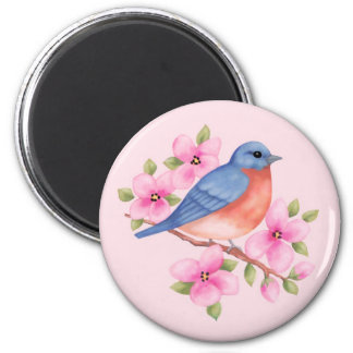 Bluebird with Pink Flowers Magnet