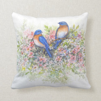 Bluebirds and Blossoms Pillow