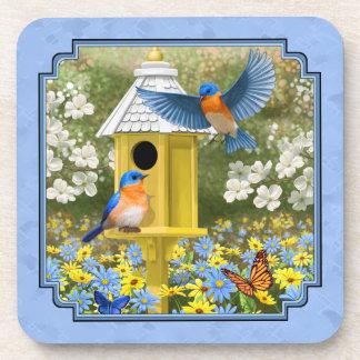 Bluebirds and Hexagon Birdhouse Blue Beverage Coasters