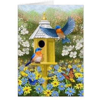 Bluebirds and Hexagon Birdhouse Blue Card