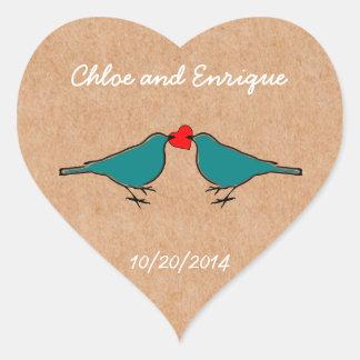 Bluebirds and Love Heart Wedding Heart Sticker
