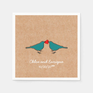 Bluebirds and Love Heart Wedding Paper Napkins