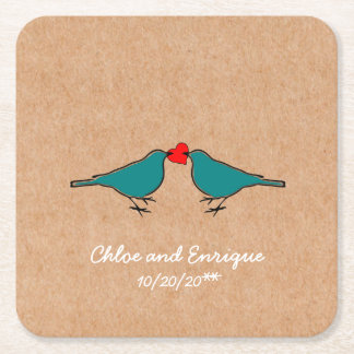 Bluebirds and Love Heart Wedding Square Paper Coaster