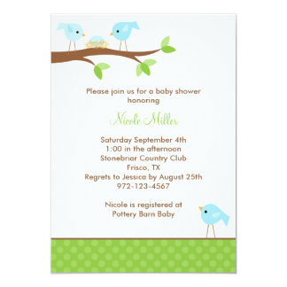 Bluebirds and Nest Baby Shower Invitation