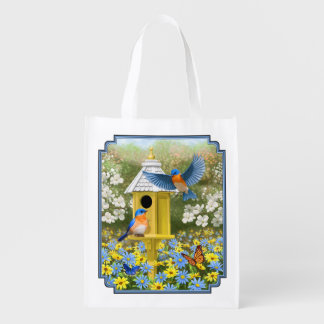 Bluebirds and Tall Yellow Birdhouse Grocery Bag