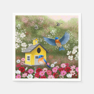 Bluebirds and Yellow School Birdhouse Paper Napkin