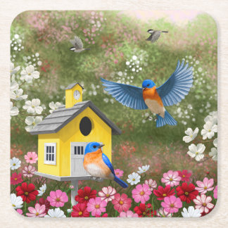 Bluebirds and Yellow School Birdhouse Square Paper Coaster