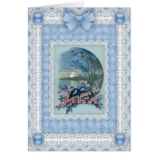 Bluebirds, Blossoms 'n Lace Greetings Card
