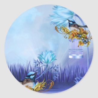 Bluebirds Blue Pond Birds Round Sticker