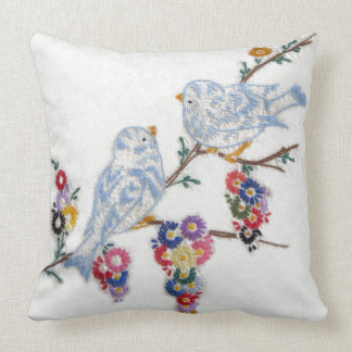 Bluebirds Embroidered by Alice Flynn Throw Pillow