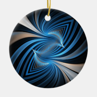 Bluebirds Fractal Ceramic Ornament