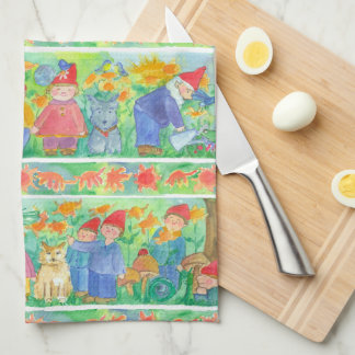 Bluebirds Garden Gnomes Kitchen Towel