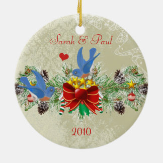Bluebirds Garland Pinecones Christmas & Photo Ceramic Ornament