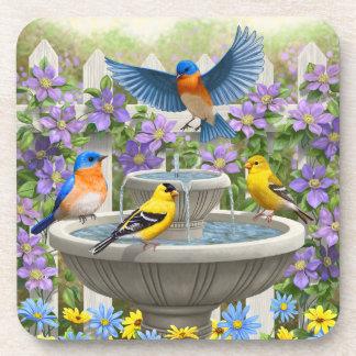 Bluebirds Goldfinches and Fountain Birdbath Coaster