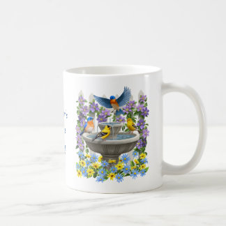 Bluebirds Goldfinches and Fountain Birdbath Coffee Mug