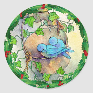 BLUEBIRDS, HOLLY & IVY by SHARON SHARPE Classic Round Sticker