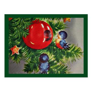 Bluebirds in a Christmas Tree Postcard
