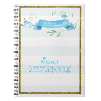 Bluebirds Joyful Journal Spiral Note Book