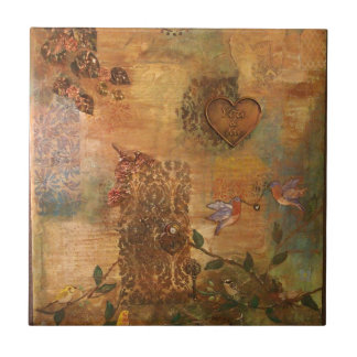 Bluebirds Love Story Art Tile