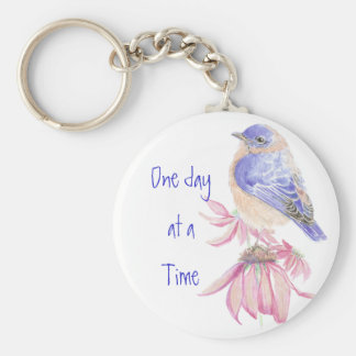 Bluebirds, Motivational, One day at a Time Quote Keychain
