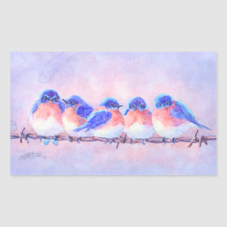 BLUEBIRDS on a WIRE by SHARON SHARPE Sticker