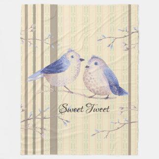 Bluebirds Sweet Tweet Fleece Blanket Large