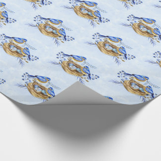 Bluebirds with Nest of Eggs in Watercolor Wrapping Paper