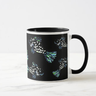 BlueBlackGreen Fish Mug by Susan Waterfield