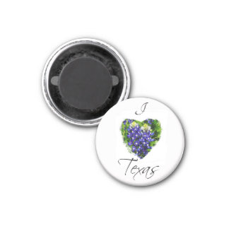 "Bluebonnet ""I Love Texas"" Heart Design Magnet"