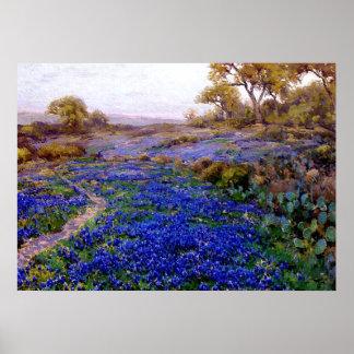 Bluebonnets at Twilight, North of San Antonio Poster