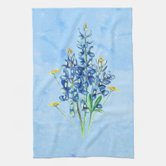 Bluebonnets on Blue Background Kitchen Towel