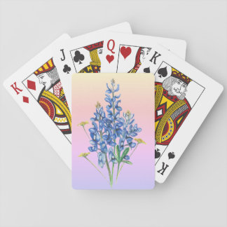 Bluebonnets on Pink Background Playing Cards