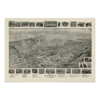 Bluefield, WV Panoramic Map - 1911 Poster