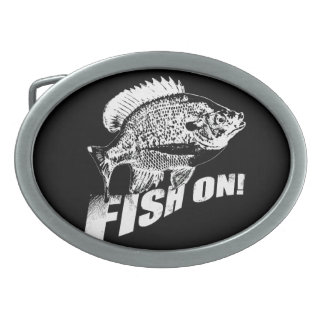 Bluegill fish on. black oval belt buckle