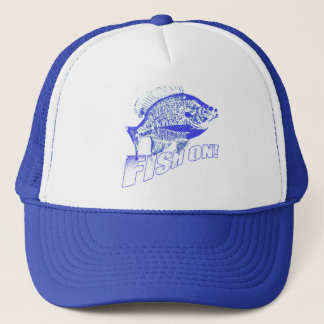 Bluegill fish on blue trucker hat