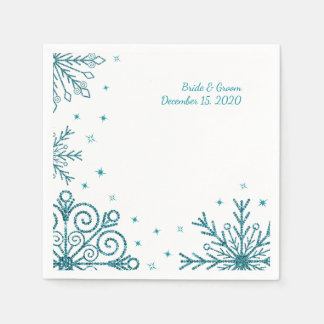 BlueGlittery Snowflake Winter Wedding Paper Napkins