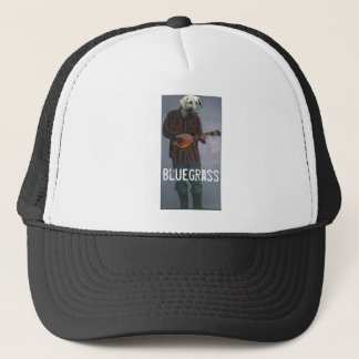 """Bluegrass"" -Dog with Mandolin- Trucker Hat"