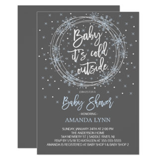 BlueGray Baby It's Cold Outside Baby Shower Card
