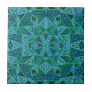 Bluegreen Triangles Ceramic Tile