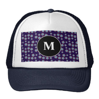 Blueish floral pattern with monogram trucker hats